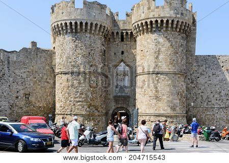 RHODES, GREECE - AUGUST 2017: Main entrance to medieval fortress of Rhodes town on Rhodes island, Greece
