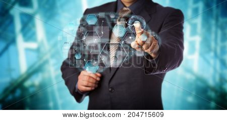 Blue chip businessman activating artificial neural network interface. Computer science concept for machine learning pattern recognition artificial intelligence data driven modeling and analytics.