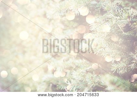 Christmas tree background with sparkling holiday lights