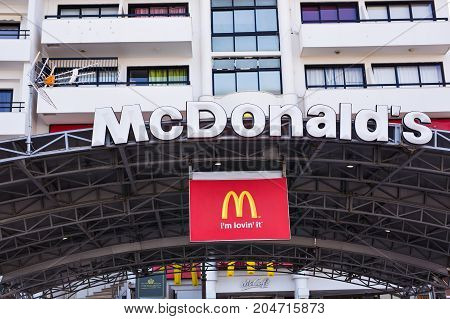 LARNACA, CYPRUS - FEBRUARY 24: McDonald's Restaurant logo in Larnaca, Cyprus. The McDonald's Corporation is the world's largest chain of hamburger fast food restaurants