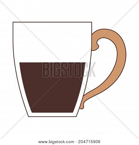 porcelain mug of coffee with handle silhouette color section on white background vector illustration