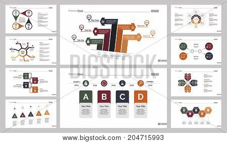 Infographic design set can be used for workflow layout, diagram, annual report, presentation, web design. Business and marketing concept with process and percentage charts.