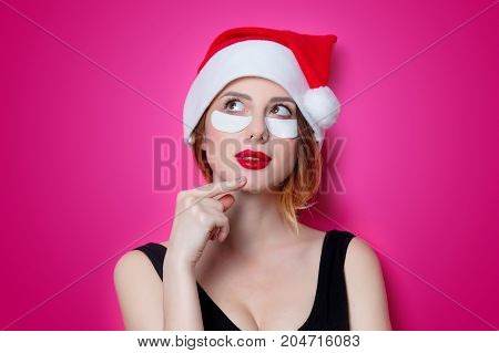 Woman Using Eye Patch For Her Eyes On Pink Background Isolated
