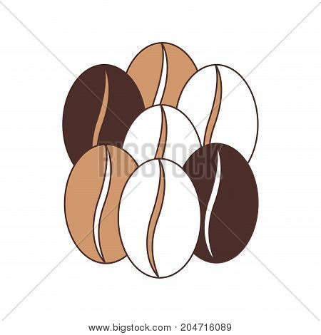 coffee beans set of seven grains silhouette color section on white background vector illustration