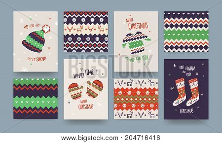 Set of Cute Illustrated Christmas Card with Winter Hat Socks and Sweater Christmas patterns Classic Colors