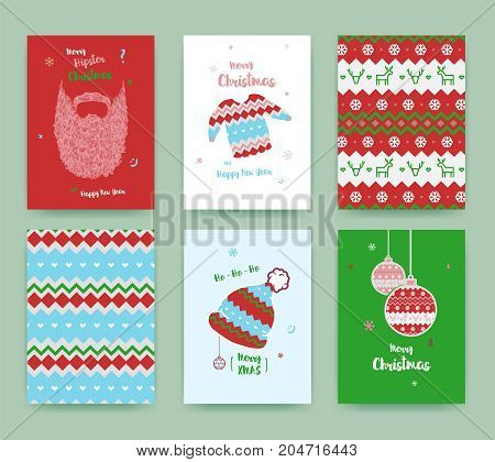 Merry Christmas greeting card set with cute winter hat sweater vintage beard christmas balls and christmas patterns classic colors