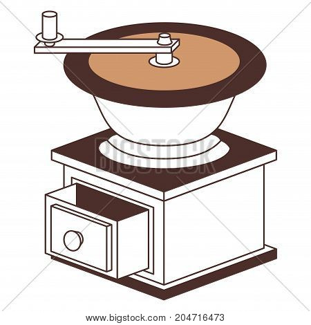 coffee grinding with crank side view silhouette color section on white background vector illustration