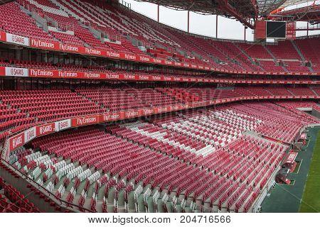 Lisbon, Portugal - july 2016: Red Empty Seating inside Da Luz Stadium in Lisbon Portugal