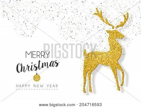 Christmas New Year Gold Glitter Deer Greeting Card