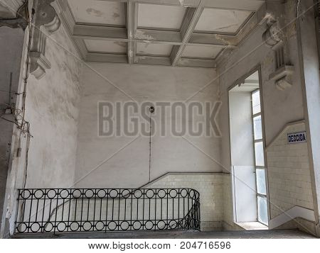 Oporto, Portugal - july 2016: Antique Architecture inside Bolhao Market in Porto Portugal