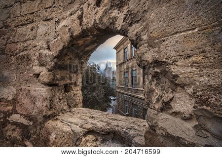 Fortress Of The Old Sity Baku, Stone Frame Or Defence Hole.,old City Wall Of Baku Azerbaijan
