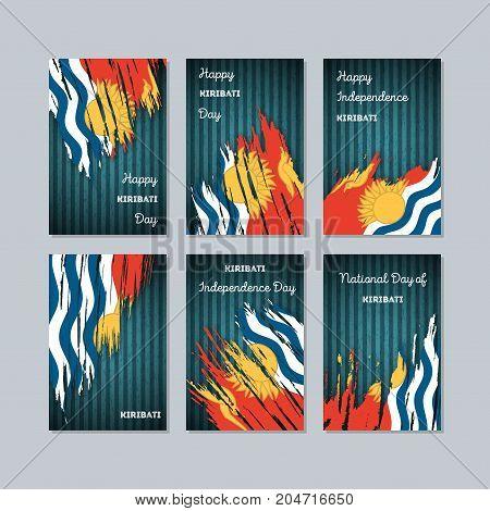 Kiribati Patriotic Cards For National Day. Expressive Brush Stroke In National Flag Colors On Dark S