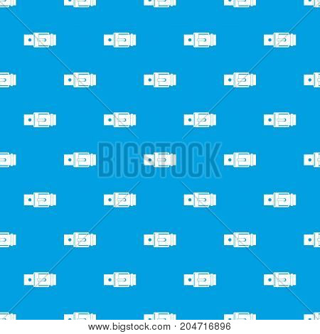 Belt with square buckle pattern repeat seamless in blue color for any design. Vector geometric illustration