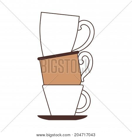 porcelain cup stack silhouette color section on white background vector illustration