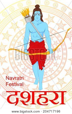 Lord Rama with bow and arrows for Dussehra Navratri festival of India. Vector illustration. Hindi text means Dussehra