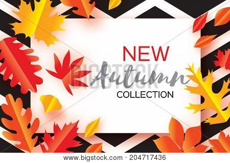 Beautiful Gold Autumn paper cut leaves. Hello Autumn. September flyer template. Rectangle frame. Space for text. Origami Foliage. Maple, oak. Fall zigzag poster background. Vector illustration.