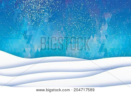 Paper cut mountain landscape. Merry Christmas Greeting card. Origami winter season. Happy New Year. Paper art style. Blue Polygonal triangle background. Vector illustration