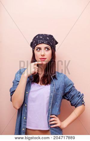 Young Redhead Girl In Bandana