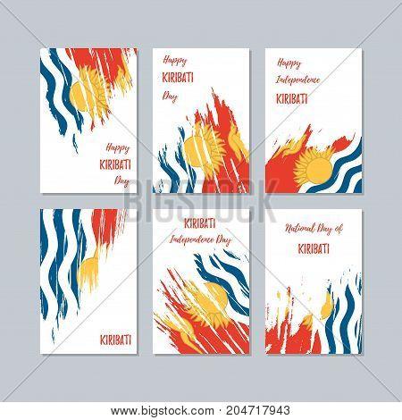 Kiribati Patriotic Cards For National Day. Expressive Brush Stroke In National Flag Colors On White