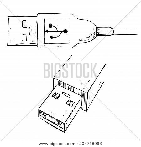 USB type A connector plug. USB cable vector illustration in sketch style.