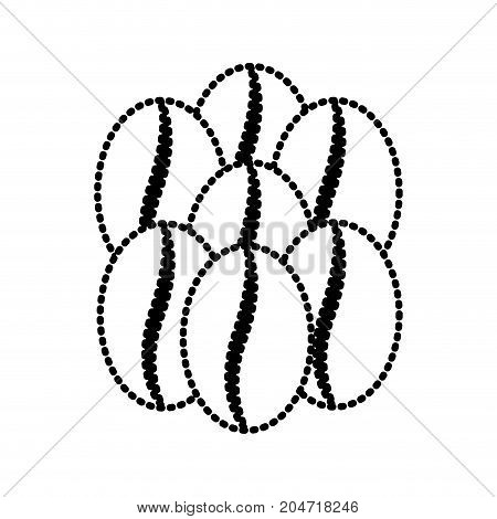 coffee beans set of seven grains silhouette dotted monochrome on white background vector illustration