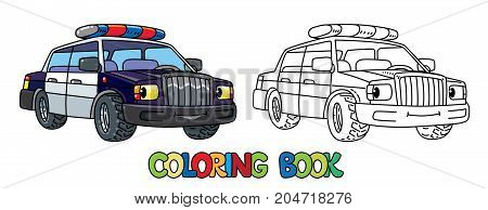 Police car coloring book for kids. Small funny vector cute vehicle with eyes and mouth. Coloring book. Children vector illustration