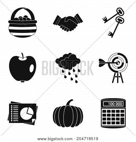 Estimated company icons set. Simple set of 9 estimated company vector icons for web isolated on white background