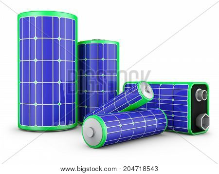 A group of batteries with solar panels on a white background. The concept of clean energy. 3d rendering.