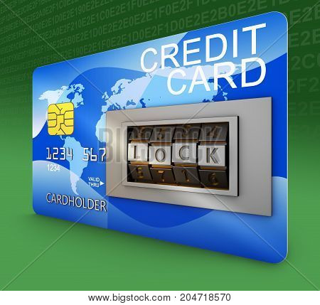 Bank card with combination lock. 3d rendering.