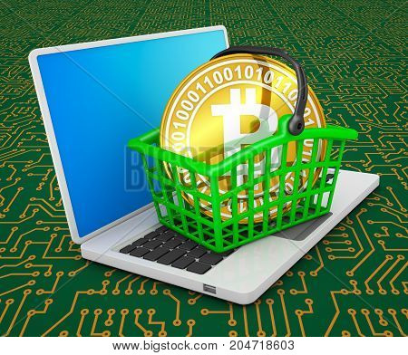 Coin bitcoin in the shopping basket on the laptop. 3d rendering.