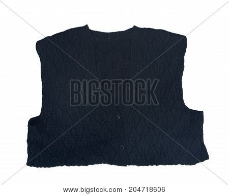 Hand made woman black wool vest isolated on white background