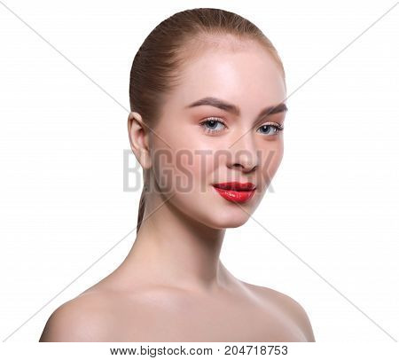 Skin makeup. Beautiful girl with red lips portrait isolated on white, crop