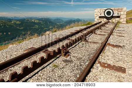 Endpoint of a rack railway on the top of a mountain on a sunny day