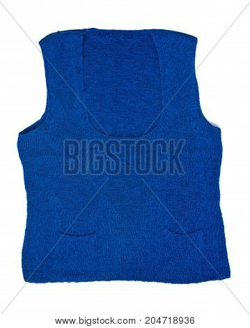 Hand made woman blue wool vest isolated on white background