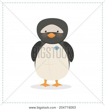 Penguin small toy funny penguin vector, isolated