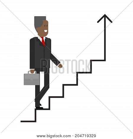 The businessman on the career ladder climbs up. African American businessman