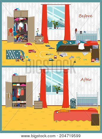 Dirty and clean room where the young couple and thair child live. Disorder in the interior. Room before and after cleaning. Flat style vector illustration.