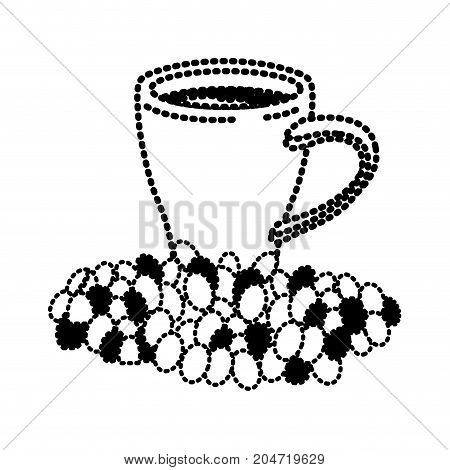 porcelain cup and beans of coffee silhouette dotted monochrome on white background vector illustration