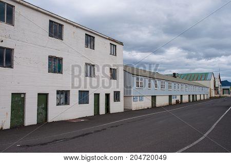 Old Fisherman Buildings In Port Of Hofn In Iceland