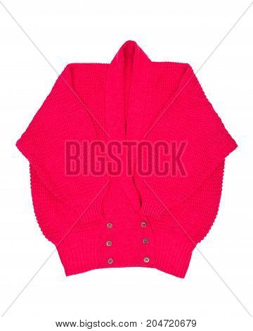Raspberry long sleeve cardigan sweater isolated on white background