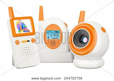 Audio baby monitor and baby cam. 3D rendering isolated on white background