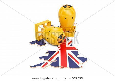 British map with nuclear weapon concept 3D rendering isolated on white background