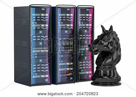 Computer Chess AI concept 3D rendering isolated on white background