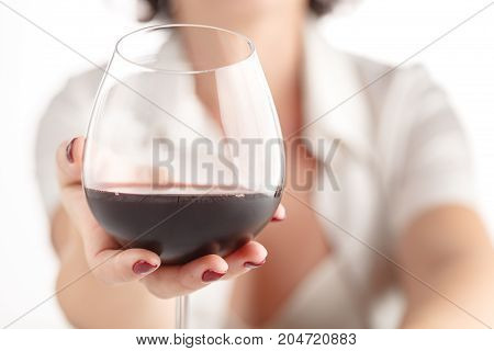 Woman Testing Benefit Of Natural Red Wine