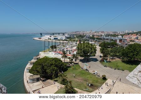 Aerial View Of Lisbon From Belem Tower On The Tagus River, Portugal