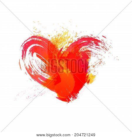 Isolated watercolor red heart with effects on white background, vector element for your design
