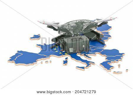 Europe missile defence system concept 3D rendering
