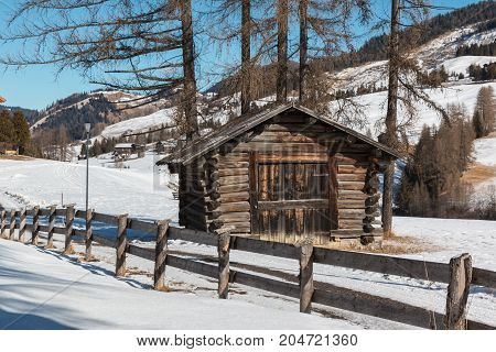 Small Wooden Shack And Fence Among Trees In Winter Day With Fresh Snow In The Mountains