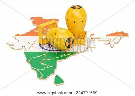 Indian map with nuclear weapon concept 3D rendering