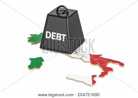 Italian national debt or budget deficit financial crisis concept 3D rendering